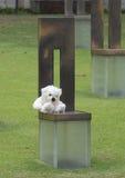 空的椅子的领域与白色玩具熊,俄克拉何马市纪念品的 免版税库存图片