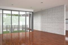 空的楼层内部现代木条地板 皇族释放例证