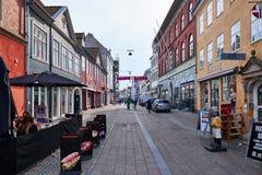 空的步行街道在丹麦 免版税库存图片