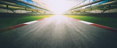 空的沥青国际赛马跑道 库存照片