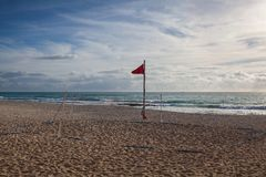 空的海滩的操场在海滨del卡门,墨西哥 库存照片