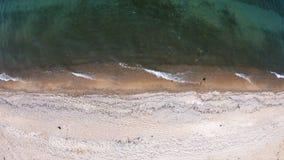 空的海滩 顶面下来,鸟瞰图 寄生虫盘旋了在海岸线 股票录像