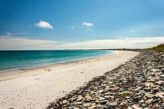 空的海滩 Whitemill海湾, Sanday,奥克尼,苏格兰 库存照片