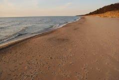 空的海滩在密执安 库存图片