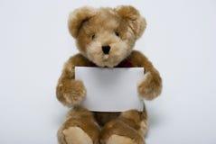 空的消息玩具熊 免版税库存图片