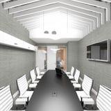 空的现代办公室内部会议室 免版税库存图片
