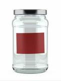 空的玻璃瓶子标签红色 图库摄影