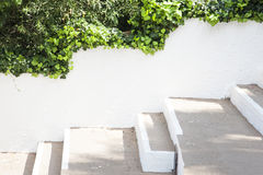 空的白色墙壁背景,嘲笑模板 免版税库存图片