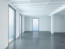 空的白色客厅3D翻译  免版税库存图片