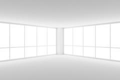 空的白色营业所室的角落有两大窗口的 免版税库存照片