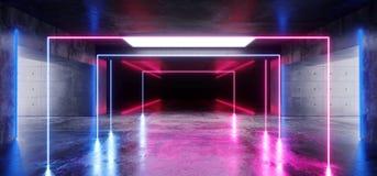 空的科学幻想小说未来派具体霍尔车库地下室霓虹发光的激光充满活力的紫色蓝色长方形建筑 库存例证