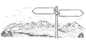 空的空白的交通路标图画在山背景的 库存例证