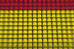 空的红色和黄色塑料椅子连续在橄榄球sta 库存图片