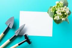 空的纸空白和园艺工具 免版税图库摄影