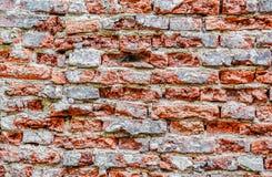 空的老砖墙纹理 被绘的困厄的墙壁表面 脏的宽Brickwall 难看的东西红色阻碍背景 库存图片