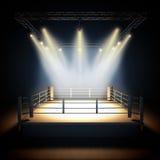 空的职业拳击圆环 免版税库存图片