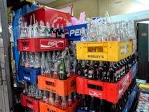 空的苏打瓶,曼谷,泰国 免版税库存照片