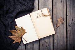 空的葡萄酒书和被编织的毛线衣有秋叶的 库存图片