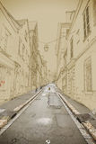 空的街道在老镇 向量例证