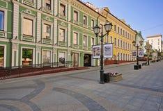 空的街道在莫斯科,俄罗斯 免版税库存图片