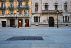 空的街道在巴塞罗那老镇 库存照片