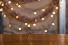 空的表摘要圣诞节背景 选择聚焦与 图库摄影