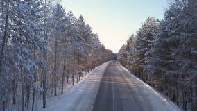 空的路在冬天森林里 影视素材