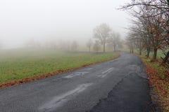 空的路在有薄雾的天 免版税库存图片