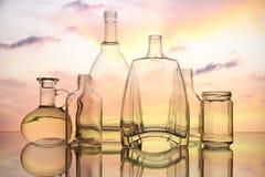 空的透明玻璃瓶形式 免版税库存图片