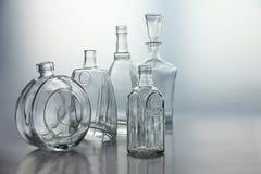 空的透明玻璃瓶形式 免版税库存照片