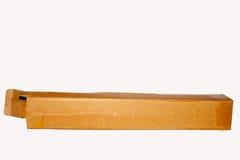空的配件箱开张在纸白色 免版税库存照片