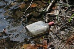 空的酒瓶在沼泽的湖 库存照片