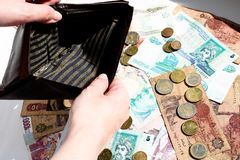 空的钱包和问号从硬币在钞票背景 免版税库存图片