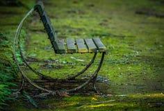 空的长凳在公园 库存照片