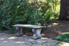 空的长凳在树荫下 免版税库存图片