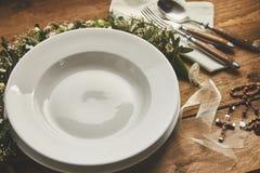 空的餐位餐具慰问卡 免版税库存照片