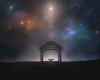 空的饲槽在夜空下 免版税库存照片