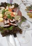 空的鱼玻璃板食品 图库摄影