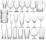 空的玻璃器皿收藏 库存图片