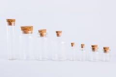 空的玻璃瓶收藏, 免版税库存图片