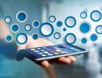 空的app接口被显示的由蓝色按钮制成在接口 免版税库存图片