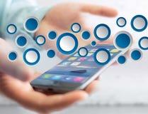 空的app接口被显示的由蓝色按钮制成在接口 库存照片
