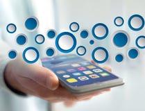 空的app接口被显示的由蓝色按钮制成在接口 免版税库存照片