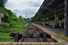 空置火车站,西孟加拉邦,印度看法  库存照片