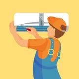 空调器单位修理和安装概念 免版税库存照片