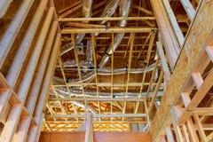 空调器透气在修建木屋的设施系统 库存照片