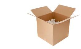 空配件箱的纸板开张 免版税图库摄影