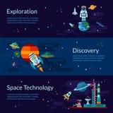 空间、太空飞船、宇航员、行星和飞碟 库存照片