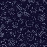 空间、行星和太空飞船 在乱画和动画片样式的无缝的样式 蓝色 库存图片