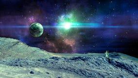 空间场面 与行星、土地和宇航员的五颜六色的星云 美国航空航天局装备的元素 3d翻译 免版税图库摄影